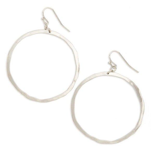 BP Silver Hammered Hoop Earrings NEW